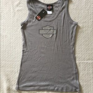 NWT Harley Davidson Gray Sparkly Tank Top Sz L